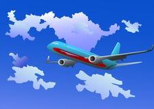 Vettore - aereo passeggeri nelle nubi Immagini Stock