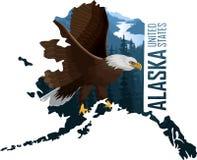 Vettore Alaska - mappa dello stato americano con l'aquila calva illustrazione vettoriale