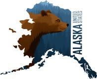 Vettore Alaska - mappa dello stato americano con l'orso grigio royalty illustrazione gratis