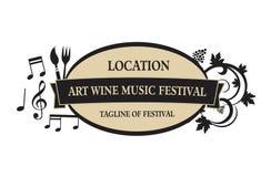 Vettore - alimento, vino, musica, logo di festival di arti, isolato su fondo bianco Illustrazione di vettore illustrazione di stock