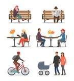 Vettore all'aperto della gente e di Autumn Activities Fall royalty illustrazione gratis