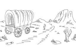 Vettore americano bianco nero grafico dell'illustrazione del paesaggio di schizzo del deserto del vagone coperto della prateria illustrazione di stock