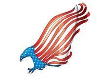 Vettore americano della bandiera dell'aquila calva di U.S.A. della bandiera dell'aquila di volo royalty illustrazione gratis