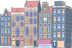 Vettore amsterdam di case colorate Multi Immagine Stock Libera da Diritti