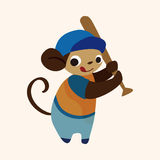Vettore animale degli elementi del fumetto della scimmia di sport Immagine Stock Libera da Diritti