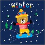 Vettore animale del fumetto dell'orso sveglio di pattinaggio su ghiaccio royalty illustrazione gratis