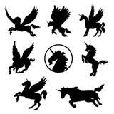 Vettore animale della siluetta del nero del tatuaggio del mammifero dell'animale domestico del cavallo Fotografia Stock Libera da Diritti