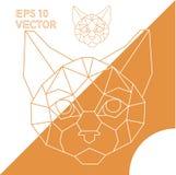 Vettore animale geometrico del gatto di contorno Immagini Stock