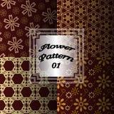 Vettore antico dorato primo del modello di fiore illustrazione di stock
