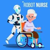 Vettore anziano della donna di Rolling Wheelchair With dell'infermiere del robot Illustrazione isolata illustrazione di stock