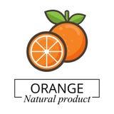 Vettore arancio dell'etichetta del fumetto Fotografia Stock Libera da Diritti