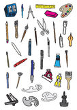 34 vettore Art Supplies Doodles Immagini Stock
