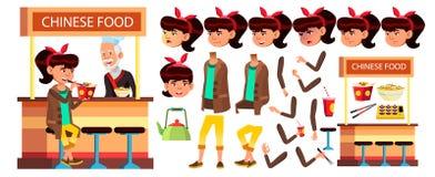 Vettore asiatico del bambino della ragazza Bambino della High School Insieme della creazione di animazione Emozioni del fronte, g royalty illustrazione gratis