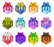 Vettore attuale del contenitore di regalo, archi lucidi e nastri sul contenitore di regalo, raccolta delle etichette della decora illustrazione di stock