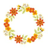 Vettore Autumn Floral Wreath illustrazione di stock