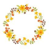Vettore Autumn Floral Wreath Fotografie Stock Libere da Diritti
