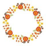 Vettore Autumn Floral Wreath Immagine Stock Libera da Diritti