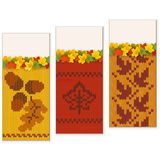 Vettore Autumn Knitted Banners Set 2 Fotografia Stock