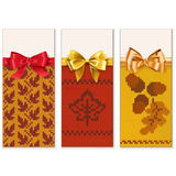Vettore Autumn Knitted Banners Set 1 Fotografia Stock