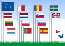 Vettore B stabilita delle bandierine di Unione Europea. illustrazione vettoriale