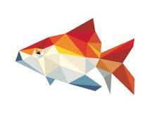 Vettore basso del poligono del pesce dorato Fotografia Stock Libera da Diritti