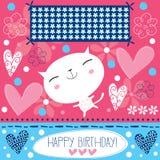 Vettore bianco del gatto di buon compleanno Fotografia Stock Libera da Diritti