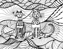 Vettore bianco del nero del gatto Arte di zen Ritratto animale lanuginoso grasso disegnato a mano nello stile dello zentangle per illustrazione di stock