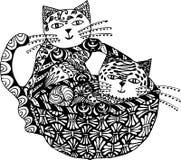 Vettore bianco del nero del gatto Arte di zen Ritratto animale lanuginoso grasso disegnato a mano nello stile dello zentangle per royalty illustrazione gratis