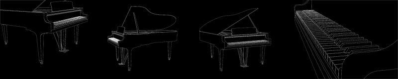 Vettore bianco del profilo del bello pianoforte a coda dettagliato realistico fissato su fondo nero illustrazione di stock