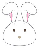 Vettore bianco della testa del fumetto del coniglio Immagine Stock Libera da Diritti