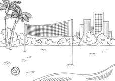 Vettore bianco nero grafico dell'illustrazione di schizzo del paesaggio della città di sport di beach volley Immagini Stock Libere da Diritti