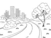 Vettore bianco nero grafico dell'illustrazione di schizzo del paesaggio della città della città della strada Fotografie Stock