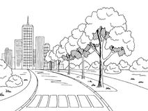 Vettore bianco nero grafico dell'illustrazione di schizzo del paesaggio della città della strada della via Fotografia Stock