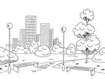 Vettore bianco nero grafico dell'illustrazione di schizzo del paesaggio della lampada del banco del parco Immagini Stock