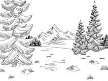 Vettore bianco nero grafico dell'illustrazione di schizzo del paesaggio della radura della foresta illustrazione vettoriale