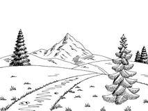 Vettore bianco nero grafico dell'illustrazione di schizzo del paesaggio della strada della montagna Fotografie Stock