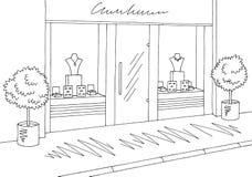 Vettore bianco nero grafico esteriore dell'illustrazione di schizzo del deposito del negozio di gioielli Immagine Stock