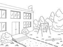 Vettore bianco nero grafico esteriore dell'illustrazione di schizzo della costruzione prescolare Immagine Stock