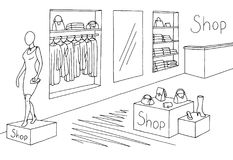 Vettore bianco nero grafico interno dell'illustrazione di schizzo del negozio Fotografia Stock Libera da Diritti