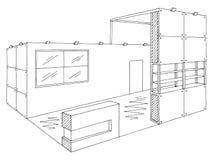 Vettore bianco nero interno grafico dell'illustrazione di schizzo del supporto di mostra illustrazione di stock