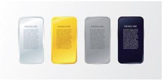 Vettore - blocchetto di lusso del metallo con spazio per il vostro testo. Oro, silv Immagine Stock Libera da Diritti