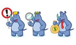 Vettore blu della mascotte di rinoceronte con soldi Immagine Stock Libera da Diritti
