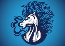 Vettore blu di logo del fuoco del cavallo Fotografie Stock Libere da Diritti