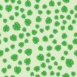 Vettore botanico della flora delle foglie di estate della giungla di verde del modello di monstera senza cuciture esotico di fogl illustrazione di stock