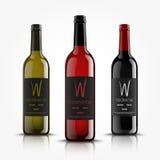 Vettore, bottiglie di vino, fatte in uno stile realistico Su una priorità bassa bianca Derisione verde, di rosso e del nero su illustrazione di stock