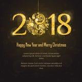 Vettore 2018 buon anno e Buon Natale Immagine Stock