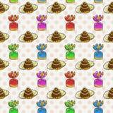 Vettore Candy e modello senza cuciture della lecca-lecca Struttura dolce del partito Fotografia Stock