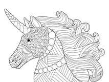 Vettore capo di coloritura dell'unicorno per gli adulti Immagine Stock Libera da Diritti