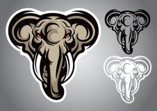 Vettore capo di logo dell'emblema dell'elefante Fotografia Stock Libera da Diritti
