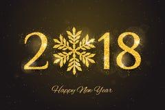 Vettore cartolina d'auguri di 2018 buoni anni Immagini Stock Libere da Diritti